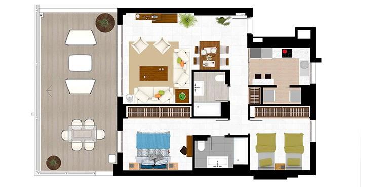 Floor Plan 1 - 2 Bed